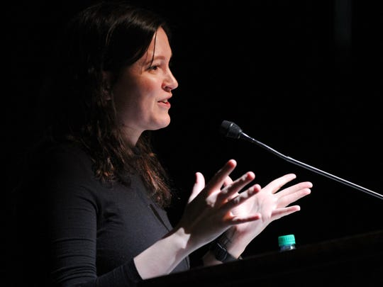 Susan Fowler, the former Uber engineer whose searing parting note about the company's misogyny took down its CEO, speaks at Monmouth University Wednesday, April 11, 2018.