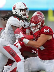 Hoosiers offensive lineman Coy Cronk (54) saw plenty of playing time as a true freshman last season.