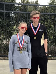 Leah Schrass and Matthew Tegtmeyer of Rider defeated Sherman 6-0, 3-6, 6-2 to win the District 5-5A Championship.