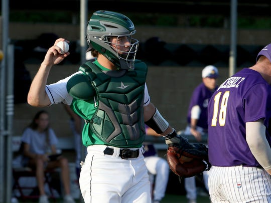 Iowa Park's Justin Thornhill throws the ball back to