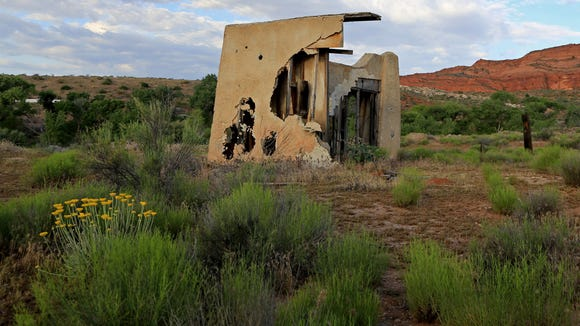 An old movie set can be found near the junction of the White Reef and Leeds Reef trails in the Red Cliffs Recreation Area.