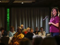 "Joy Shantz, an international student advisor at MSU speaks about growing up in Bangladesh and Malaysia  during the Lansing Storytellers Project event on Sept. 20 at the University Club in East Lansing. The theme of the next event, on Nov. 15, is ""Intoxicants."""
