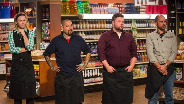 "Robbie Jester waits to hear what the first game will be on Sunday night's Food Network show ""Guy's Grocery Games."""