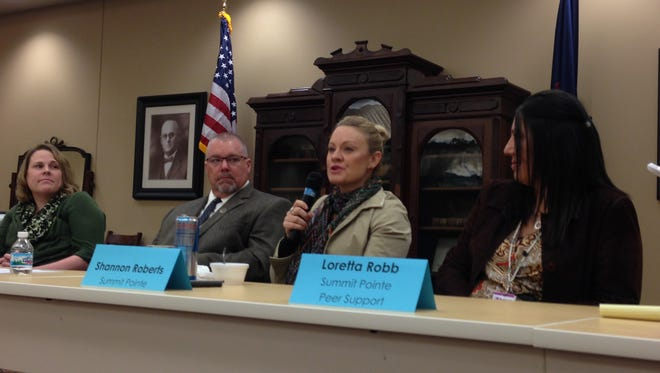 From left, Dawn Smith of the Substance Abuse Council, Calhoun County Detective Bryan Gandy and Summit Pointe's Shannon Roberts and Loretta Robb were among the speakers at a meeting of The Coordinating Council of Calhoun County on the topic of heroin abuse.