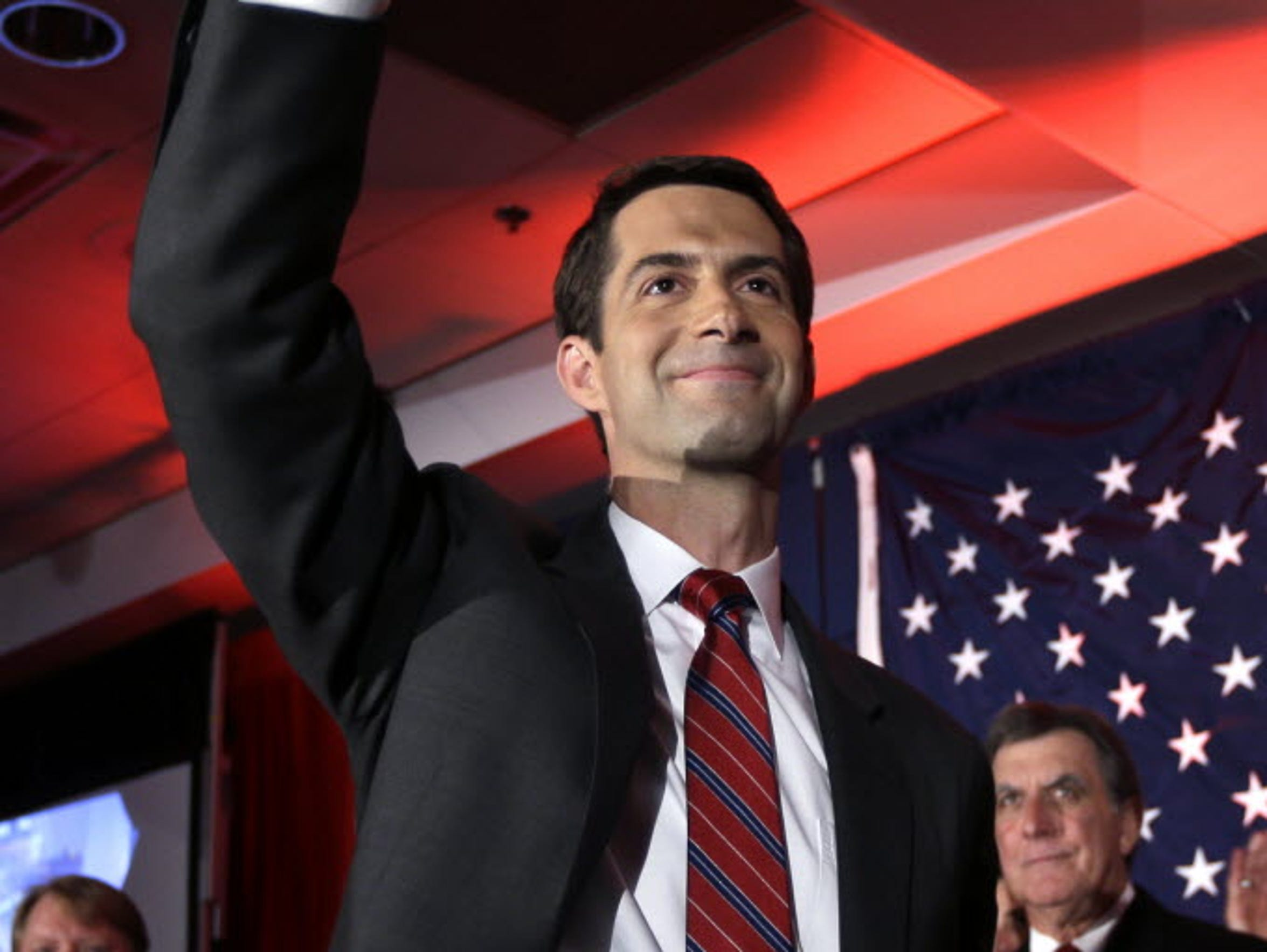 Rep. Tom Cotton waves at his election watch party in