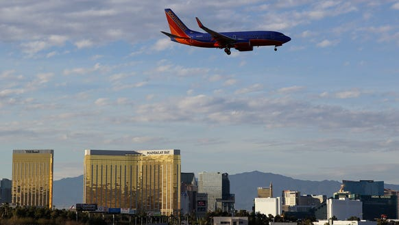 A Southwest Airlines flight prepares to land at McCarran