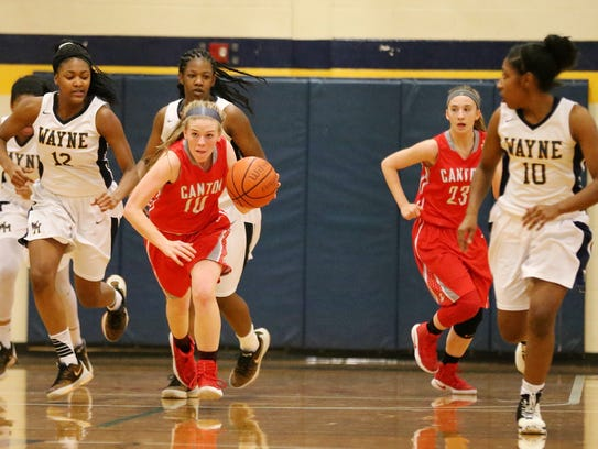 Canton's Alaina Heitmeyer (10) brings the ball up the