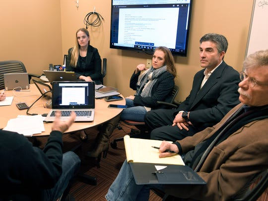 Candidates Lori Clemons, Sara Melamed, Craig Zimberg, and Kenneth Townsend learn how to develop their campaigns during a training session on Feb. 7, 2018.