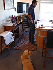 Apollo the lab, and Robert Carlson, co-owner of Carlson