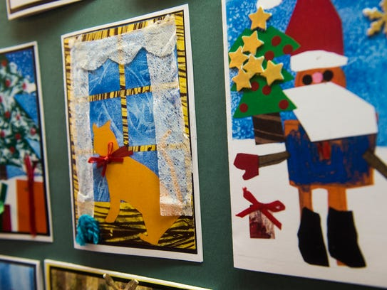 Examples of the finished Christmas cards created by