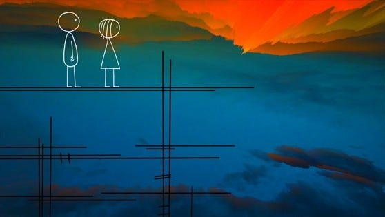"Don Hertzfeldt's animated ""World of Tomorrow"" tells  the story of a little girl  who  is visited by an older clone of herself from several generations in the future."