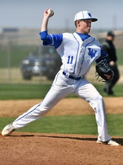 Hunter Wolf of Windthorst pitches during Tuesday's