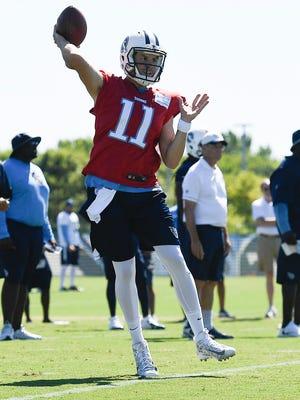 Titans quarterback Alex Tanney (11) throws a pass during training camp practice at Saint Thomas Sports Park Sunday, July 30, 2017 in Nashville, Tenn.