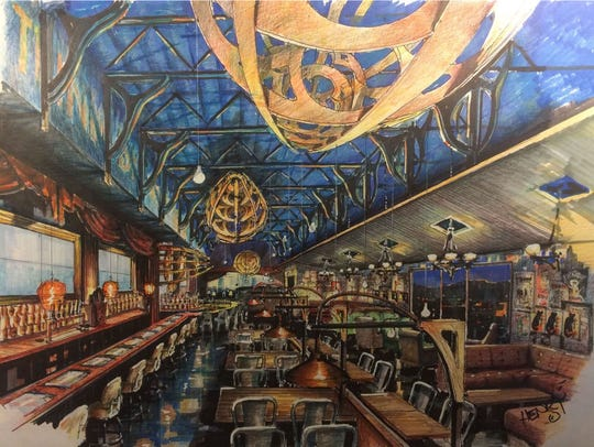 Rendering of Zeppelin, an adult-themed bar and restaurant