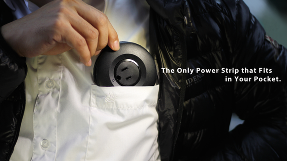 MOGICS is a round, pocket-sized power strip that eliminates