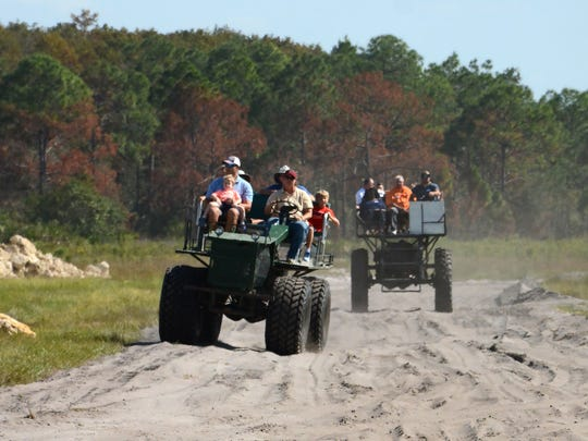 Visitors get the tour on swamp buggies. Environmentalists and supporters gathered on Veterans Day for the Panther Island BBQ off Corkscrew Road, celebrating the restoration of thousands of acres of interior Collier County.