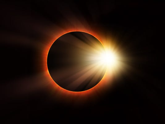 Solar eclipse on dark background