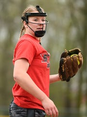 Annandale pitcher Sarah Johnson gets ready to throw during practice Monday, April 25, at the Annandale High School.