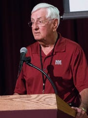 Garrey Carruthers, New Mexico State University's president opened the Ag Assembly Event, put on by NMSU's Arrowhead Center, Thursday Aug. 10, 2017 at the New Mexico Farm and Ranch Heritage Museum.