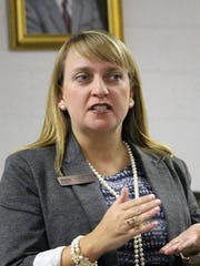 South Carolina House of Representatives District 9 candidate Mary Geren speaks Tuesday at at a town hall meeting in Anderson.