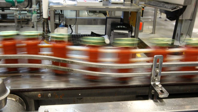 Jars of tomato sauce at LiDestri Food and Drink's plant on Lee Road in Rochester.