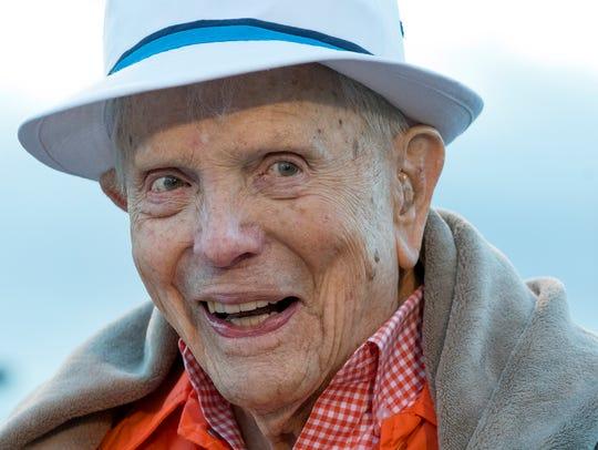 Ret. Col. Ben Skardon, 100, jokes with a participant