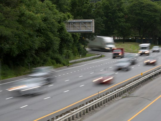 Traffic on east and westbound Interstate 287 in Harrison