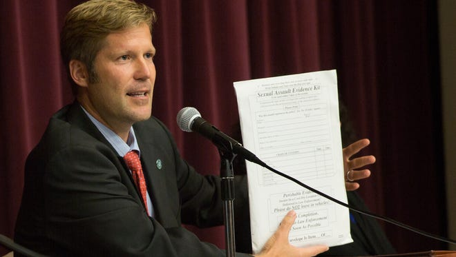New Mexico State Auditor Tim Keller speaks about the statewide backlog on sexual assault evidence kits Tuesday June 28, 2016 at the Las Cruces Farm and Ranch Heritage Museum.