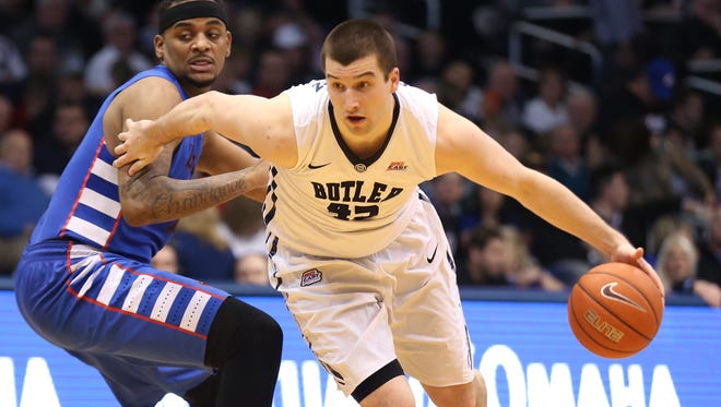 Butler's Andrew Chrabascz drives to the basket during Butler's 83-73 victory over DePaul at Hinkle Fieldhouse on Feb. 7, 2015.
