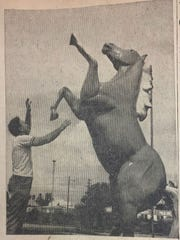 This image from the Fort Pierce News Tribune was published Sept. 1, 1964. It shows Charles Parks, Vero Beach recreation director, and a horse in the city's Pocahontas Park. It would be named Patriot in 2003.