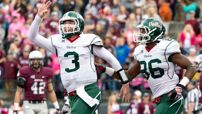 Mississippi Valley State quarterback Austin Bray (3) celebrates after scoring a touchdown against Montana in the first half on Saturday.