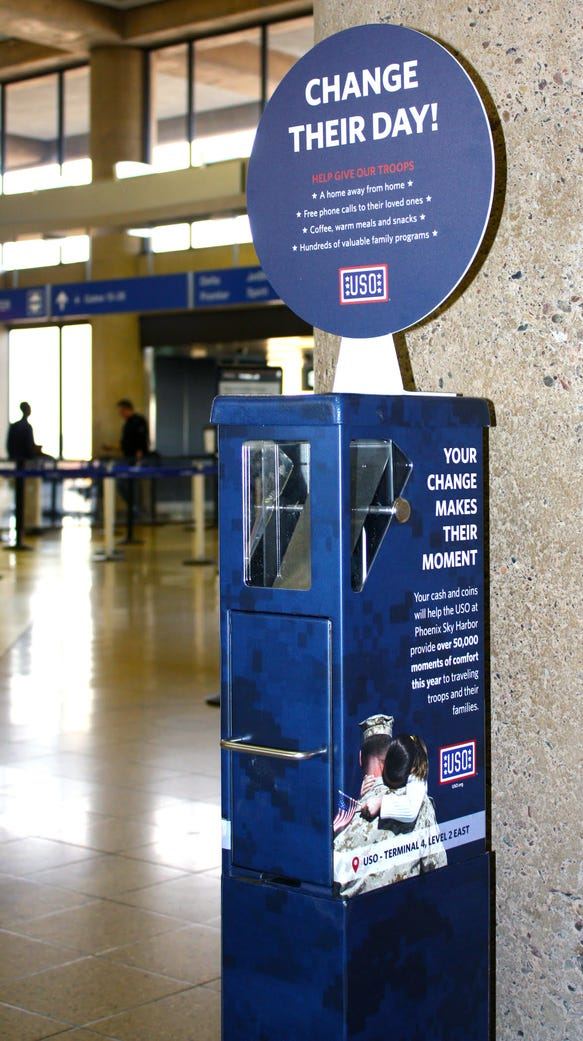 Spare change kiosks at Phoenix Sky Harbor International