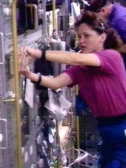 Astronaut Kathryn Thornton in the Spacehab section