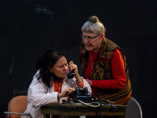 """Toby Rhine as Helen Arbaugh, a neurosurgeon, and Fran Lattin as Vivian Rademacher, a hospital administrator, rehearse """"Emma's Child."""" The show runs March 3-25 at the Pentacle Theatre."""