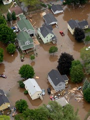 Aerial views of the flooding in Fond du Lac. Friday,
