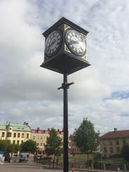 The new street clock in the city center of Amal, Sweden,