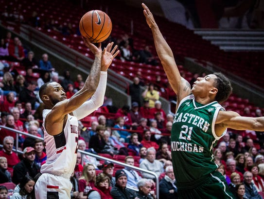 Ball State's Jeremie Tyler shoots a three against Eastern