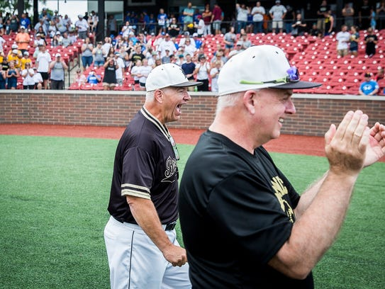 Daleville celebrates defeating Northfield during their