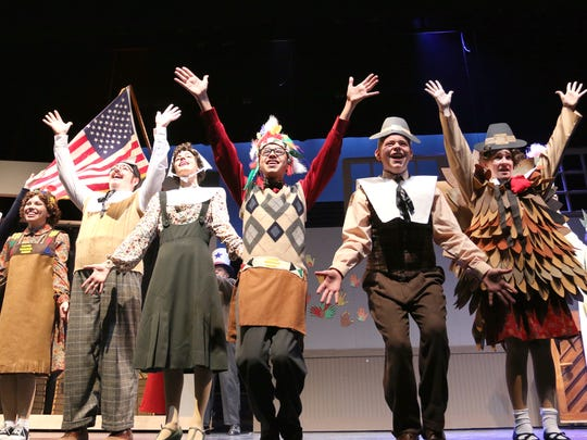 """Lennon Ritter, from left, Francesca Miani, Brian Hann, Caroline Drigotas, Daniel Rosales, Thomas Richardson, Kylie Campbell and Monica Alarcon perform in The Naples Players Production """"Coney Island Christmas."""""""