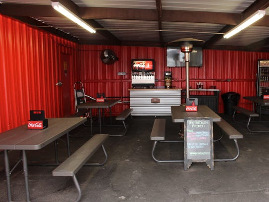 Firehouse Kitchen Owners Lacie and Johsua Hewitt rent this dining room next to their food truck.