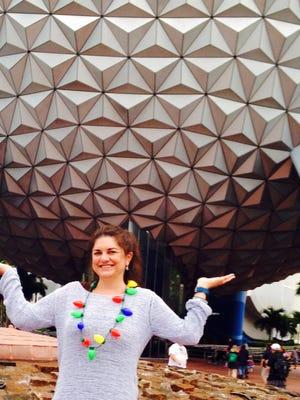 Sara Quirt Sann poses at Disney World on a family vacation.