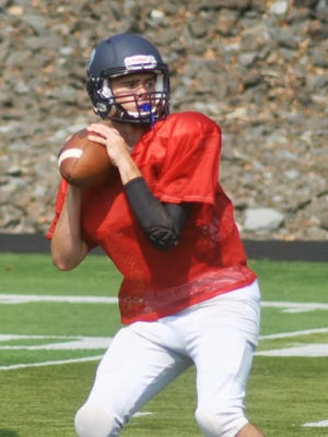 Rutherford quarterback Kyle Russell throwing at a recent scrimmage against Hasbrouck Heights.