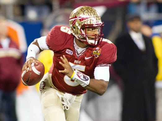 Florida State QB Jameis Winston completed 19 of 32 passes for 330 yards and three touchdowns with two interceptions in a win over Duke. Winston also rushed 10 times for 59 yards and another touchdown.