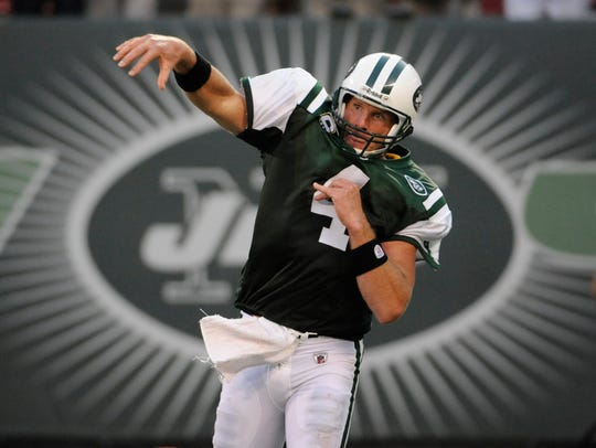 Brett Favre with the Jets in 2008.