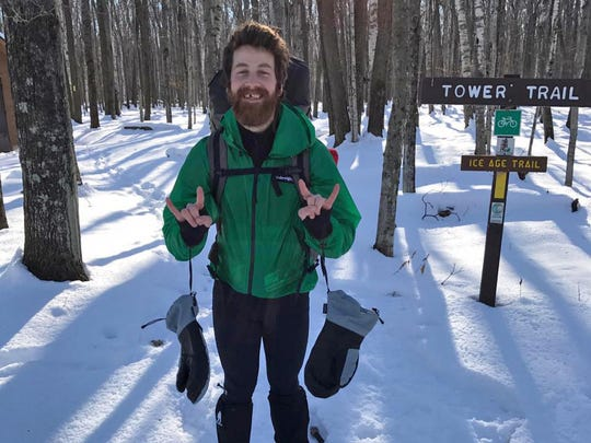 Mike Summers stands in Potawatomi State Park at the start of his winter thru-hike of the 1,200-mile Ice Age Trail.