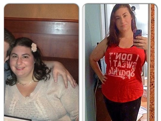 Before-and-after photos of Sarah Katerle, who lost 100 pounds over more than two years.
