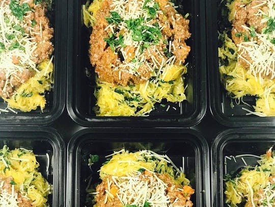 Spaghetti squash Bolognese with garlicky kale from