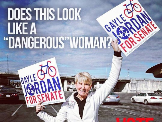 A campaign message posted to Gayle Jordan for Senate,