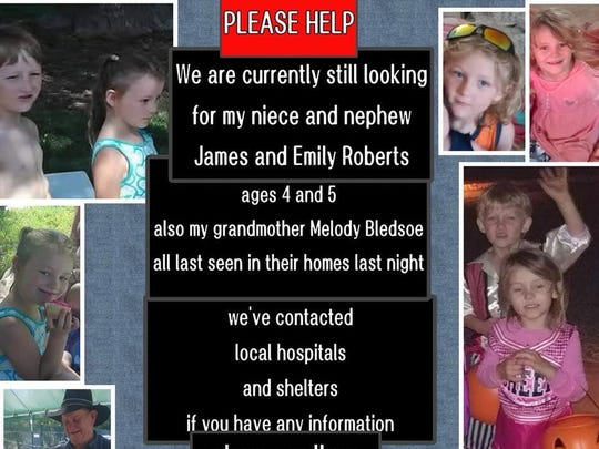 This post was being shared on Facebook. A Redding woman and her two grandchildren have been missing since the fire spread into the city.