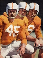 From left to right, Johnny Majors, Buddy Cruze, and